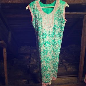 Bohemian Indian Floral Embroidered Tunic Dress